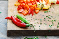 Cooking preparation. Vegetable,red and green pappers Stock Photo