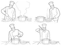 Cooking process with chef figures at the table in restaurant kitchen interior  illustration.  Black on white background Stock Image