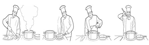 Cooking process with chef figures at the table in restaurant kitchen interior vector wide illustration.  Black on white Stock Photo