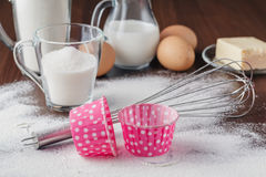 Cooking process. Dry ingredients mix for sponge cake, buns, cupc. Akes or muffin. Preparation stage. Baking and cooking concept, ingredients and utensils Stock Images