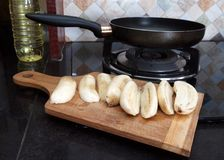 Cooking process of fried bananas with scrambled eggs Royalty Free Stock Image