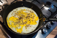 Cooking process of frying huge ostrich egg on frying pan Stock Images