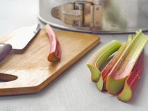 Cooking process. Home baking concept. Preparing rhubarb cake. Stock Photography