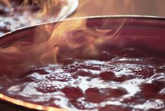 Cooking process of homemade jam. Cooking process of homemade strawberry jam Stock Image
