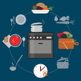 Cooking process set. Cooking round process set. Flat vector icons vector illustration