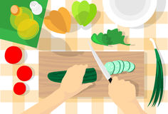 Cooking Process Table Kitchen Chopping Cucumber Vegetables Healthy Food Top Angle View Royalty Free Stock Photo