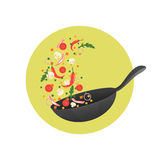 Cooking process vector illustration. Flipping Asian food in a pan. Cartoon style stock illustration