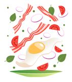 Cooking process vector illustration. Flipping fry egg in a pan. Cartoon style Royalty Free Stock Photo