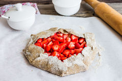 Cooking processes biscuit with fresh strawberries, healthy desse Stock Photo