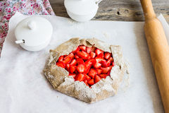 Cooking processes biscuit with fresh strawberries, healthy desse Royalty Free Stock Photos