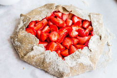 Cooking processes biscuit with fresh strawberries, healthy desse Royalty Free Stock Photography