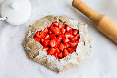 Cooking processes biscuit with fresh strawberries, healthy desse Royalty Free Stock Image