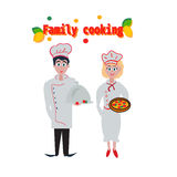 Cooking, profession, vegetarian diet and people concept - happy chef couple or cooks. Food for all family,. Cooking, profession, vegetarian diet and people Royalty Free Stock Photography