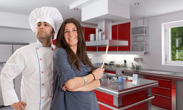 Cooking with a professional chef Stock Images
