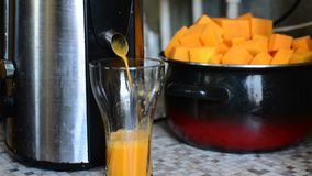 Cooking pumpkin juice in  juicer stock video footage