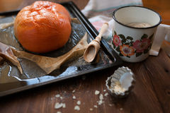 Cooking pumpkin on table, still life Royalty Free Stock Image