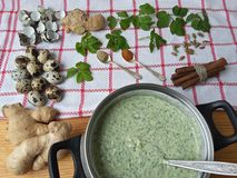 Cooking qoutweed ginger green cake, organic food Royalty Free Stock Images