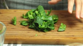 Cooking quiche recipe. Cooking quiche food recipe cutting vegetables on cutting board in the kitchen closeup stock video