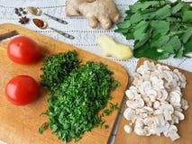 Cooking quinoa mushroom ginger gratin Royalty Free Stock Image