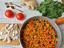 Cooking quinoa mushroom ginger gratin Stock Photo
