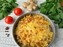 Cooking quinoa mushroom ginger gratin Royalty Free Stock Photo