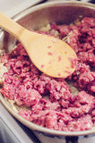 Cooking raw minced meat Royalty Free Stock Photography