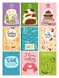 Cooking recipe books cover kitchen design cards template hand drawn culinary cookie notes with doodle kitchen utensils Royalty Free Stock Photography