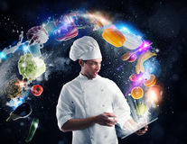 Cooking recipe from tablet Stock Photography