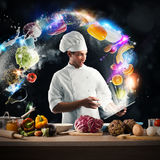 Cooking recipe from tablet Royalty Free Stock Image