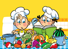 Cooking recipes. The illustration shows a boy and a girl. They cook in the kitchen Royalty Free Stock Photos