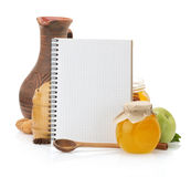 Cooking recipes book and food Stock Image