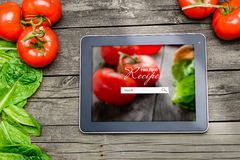 Cooking recipes on tablet pc Royalty Free Stock Photography