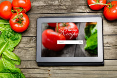Cooking recipes on tablet pc Stock Images