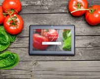Cooking recipes on tablet pc Royalty Free Stock Photo