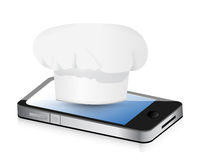 Cooking recipes on your phone. Royalty Free Stock Image