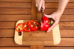 Cooking Red Bell Pepper. Stock Photo