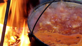 Cooking red borsch stock video footage