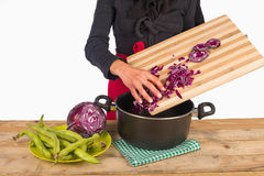 Cooking with red cabbage Stock Photo