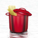 Cooking red pot spaghetti Stock Images