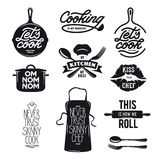 Cooking related typography set. Quotes about kitchen. Vintage vector illustration. Stock Image
