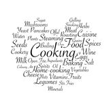 Cooking related words. Tag cloud for food industry. Typographic vector illustration. Stock Image