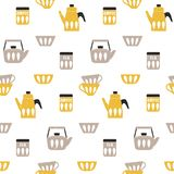 Cooking repetitive background for kitchen. Vector seamless coffee and tea pattern. For kitchen fabrics, napkins, wrapping paper stock illustration