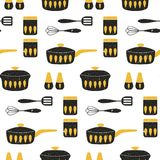 Cooking repetitive background for kitchen. Vector seamless pattern. Cooking repetitive background for kitchen. Vector seamless pattern for kitchen fabrics royalty free illustration