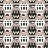 Cooking repetitive background for kitchen. Vector seamless pattern with plates and cups. For kitchen fabrics, napkins, wrapping paper royalty free illustration