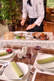 Cooking roast duck in restaurant Royalty Free Stock Image