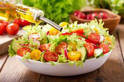 Cooking salad. olive oil pouring into bowl of fresh salad royalty free stock photography