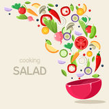 Cooking Salad. Vector Illustration Royalty Free Stock Image