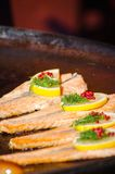 Cooking of salmon in the central market Royalty Free Stock Image