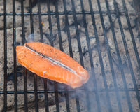 Cooking salmon on a grill Royalty Free Stock Photo