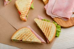 Cooking sandwiches at home royalty free stock photos
